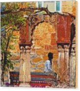 Open Air Bed Among The Arches India Rajasthan 1a Wood Print