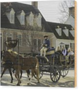 Open Carriage Ride In Colonial Williamsburg Virginia Wood Print