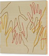 Open Hands Drawing Wood Print