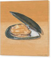 Open Mussel Wood Print