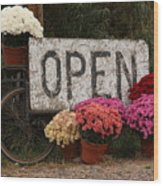 Open Sign With Flowers Fine Art Photo Wood Print