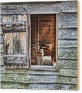 Open Window In Pioneer Home Wood Print by Jill Battaglia