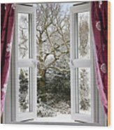 Open Window With Winter Scene Wood Print