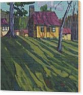 Opinicon Cottages In Autumn Wood Print