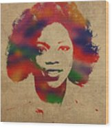 Oprah Winfrey Vintage 1978 Watercolor Portrait Wood Print