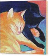 Orange And Black Tabby Cats Sleeping Wood Print