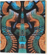 Orange And Blue Abstract 1 Wood Print
