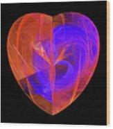 Orange And Blue Fractal Heart Wood Print