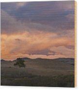 Orange And Purple Cloud Landscape Wood Print