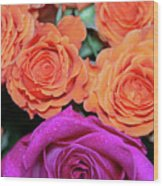 Orange And White With Pink Tip Roses Wood Print