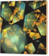 Orange Aqua Honeycomb Wood Print