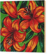 Orange Asiatics Wood Print