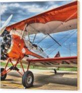 Orange Bi-plane Wood Print by Dan Crosby