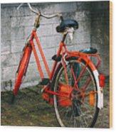 Orange Bicycle In The Street Wood Print