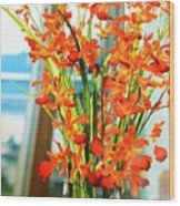 Orange Bloom Wood Print