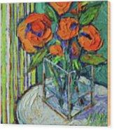 Orange Bloom - Textured Impressionist Palette Knife Oil Painting Mona Edulesco Wood Print