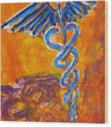 Orange Blue Purple Medical Caduceus Thats Atmospheric And Rising With Mystery Wood Print