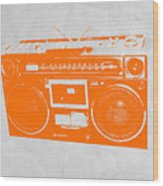 Orange Boombox Wood Print by Naxart Studio