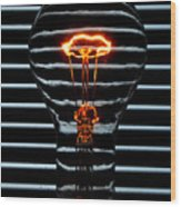 Orange Bulb Wood Print
