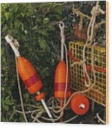 Orange Buoys, Nautical, Marblehead, Ma Wood Print