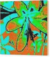 Orange Burst Flower Wood Print