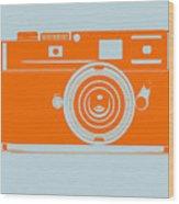 Orange Camera Wood Print by Naxart Studio