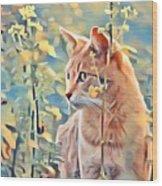 Orange Cat In Field Of Yellow Flowers Wood Print