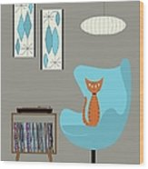 Orange Cat In Turquoise Egg Chair Wood Print