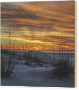 Orange Clouded Sunrise Over The Pier Wood Print