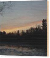 Orange Clouds Mississippi River Dawn Wood Print