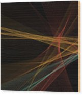 Orange Computer Graphic Line Pattern Wood Print