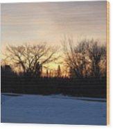 Orange Dawn Sky Behind Trees Wood Print