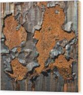 Orange Decay Wood Print