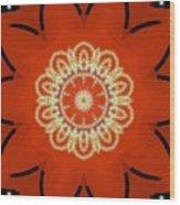 Orange Desert Flower Kaleidoscope Wood Print