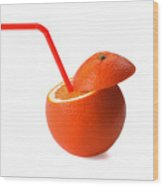 Orange Drink Wood Print