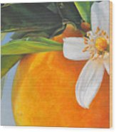 Orange En Fleurs Wood Print