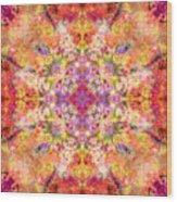 Orange Flower Mandala Wood Print