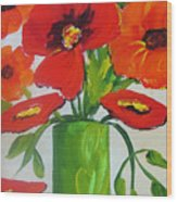 Orange Flowers In Lime Green Vase Wood Print