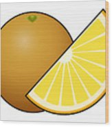 Orange Fruit Outlined Wood Print