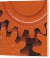 Orange Gear 2 Wood Print