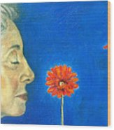 Orange Gerbera On Cobalt Wood Print