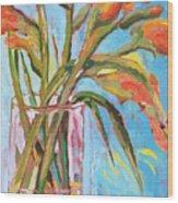 Orange Gladiolus In Vase Wood Print