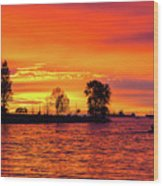 Orange Glow Sunset At Sunset Beach In Vancouver Bc Wood Print