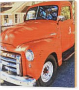 Orange Gmc Pickup Truck In Idyllwild Wood Print