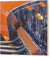 Orange Hot Rod Stacks Wood Print