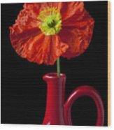 Orange Iceland Poppy In Red Pitcher Wood Print