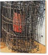 Orange In Wire Wood Print
