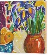 Orange Iris Wood Print