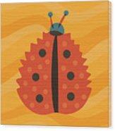 Orange Ladybug Masked As Autumn Leaf Wood Print