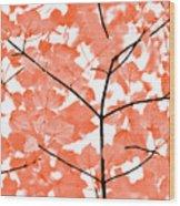 Orange Leaves Melody  Wood Print